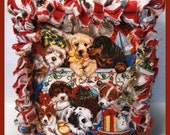Rag Quilt Boutique Tissue Box Cover Handmade with Christmas Puppies Fabric