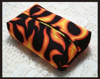 Purse Size Travel Tissue Holder Handmade with Orange Flames on Black Fabric