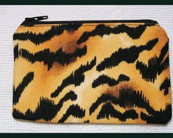 Coin Purse with Zipper Closure Handmade with Jungle Fever Fabric
