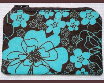 Coin Purse with Zipper Closure Handmade with Turquoise Floral on Brown Fabric