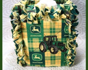 Rag Quilt Boutique Tissue Box Cover Handmade with John Deere Green and Yellow Plaid Fabric