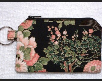 Coin Purse with Key Ring and Zipper Closure Handmade with Flower Garden Fabric