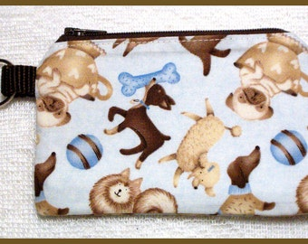 Coin Purse Keychain with Zipper Closure Handmade with Puppies on Blue Fabric