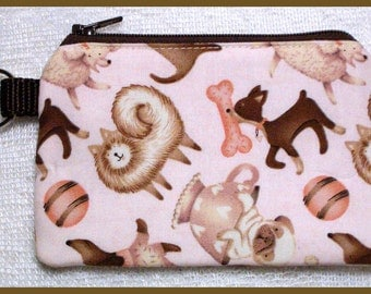 Coin Purse Keychain with Zipper Closure Handmade with Puppies on Pink Fabric