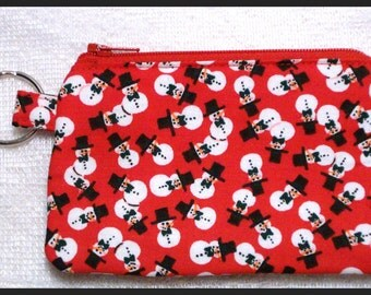 Coin Purse Keychain with Zipper Closure Handmade with Snowmen on Red Fabric