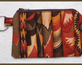 Coin Purse Keychain with Zipper Closure Handmade with Southwestern Motif Fabric
