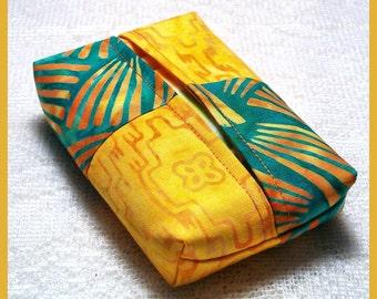 Purse Size Travel Tissue Holder Handmade with Turquoise/Yellow Batik Fabrics