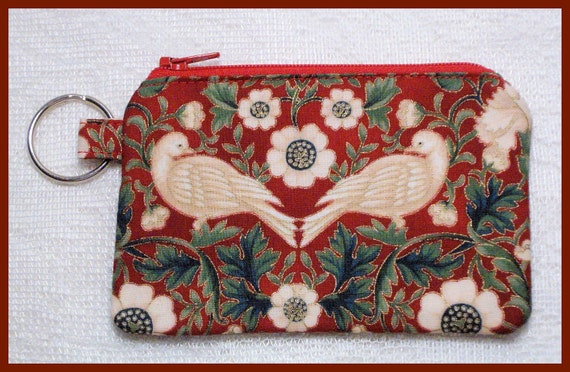 Coin Purse with Key Ring and Zipper Closure Handmade with Christmas Doves Fabric