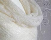 Ocean Waves shawl, stole, scarf, lace, elegant, cream, off-white, ecru, wedding, organic