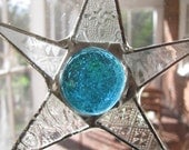 Five Inch Turquoise and Patterned Clear Glass Star
