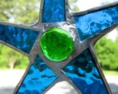Swimming Pool - stained glass star 6 inches aquamarine, turquoise, green glass