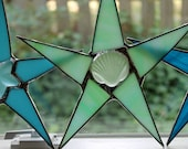 9 inch Seafoam Seaglass Seashell Stained Glass Star