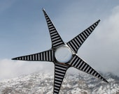 Bradford- black and white striped star, lacquered glass, stained glass star