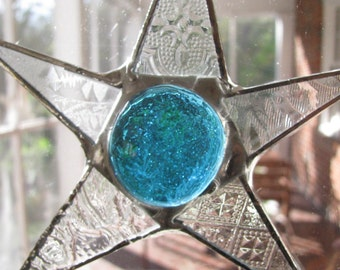 Seven Inch Turquoise and Patterned Clear Glass Star
