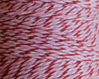 240 yards Peppermint Divine Twine full spool Pink Red and White Divine Bakers Twine for Valentines or Christmas
