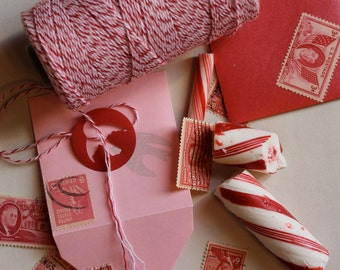 Peppermint Divine Twine 240 yards Red Pink White Bakers Twine for Valentines or Christmas