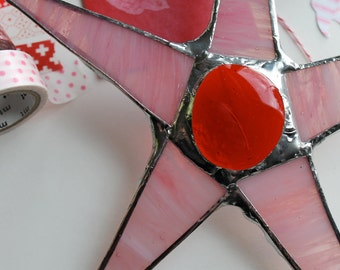 Chloe- pink and red stained glass star, 8.5 inches