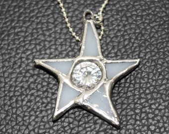 Shining Star Necklace - Cubic Zirconia, stained glass, faux diamond, clear and white with silver ball chain