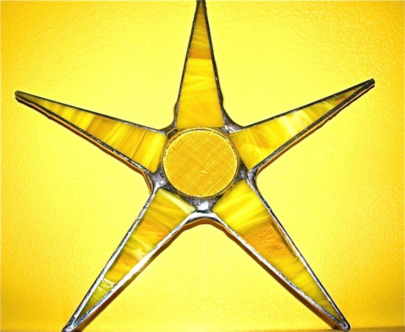 Sunshine from a Star 8 inch yellow stained glass with lacquered fabric center. Happy Sunshine yellow