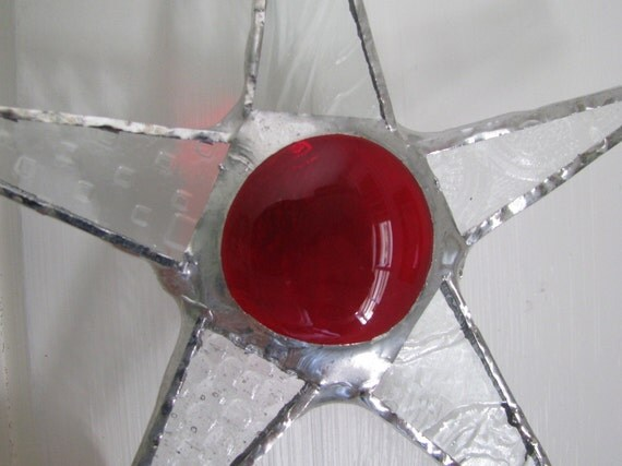 Une Petite Rouge- patterned glass and stained glass star red cabochon center