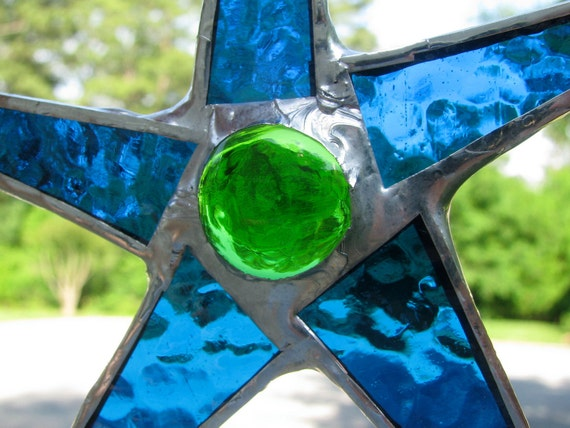 Swimming Pool Stained Glass Star 6 Inches Aquamarine
