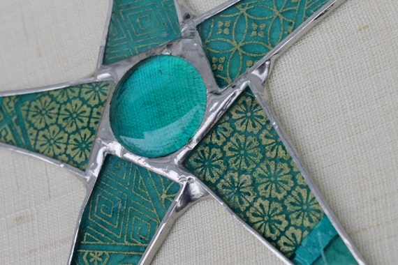 Star of Qatar - lacquered paper on glass star - 8 inches, stained glass cabochon
