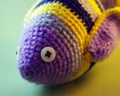 Fish exotic wool plush, multicolored stripe, amigurumi crochet, stuffed Animal, Pisce zodiac, OOAK