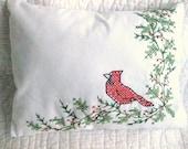 Handmade Counted Cross-Stitch Red Bird Pillow