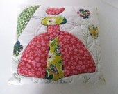 Vintage Parasol Lady with her Hat Hand-quilted Decorator Pillow-1970's