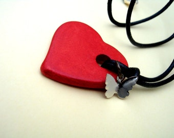 Heart and Soul Red Valentine's Necklace with butterfly charm by Dryw on Etsy
