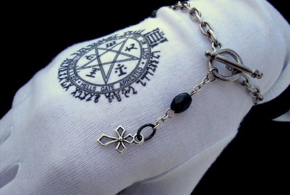 Gothic Bracelet with Oblong Black Beads and Cross Charm by Dryw on Etsy