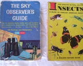 Two Golden Handbooks Sky Observers Guide and Guide to Insects 1951 1956 1965