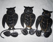 Vintage Halloween Owls Black Tin