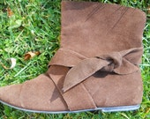 Brown Suede Ankle Pixie Cuff Boots by Rampage  Size 7.5 M Cuff Up or Down