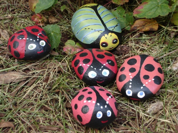 painted ladybug rocks items similar to bugs and other insects original 2597