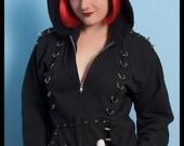SALE Gothic Devil Hoodie - Skulls n' Roses Recycled Hoodie with Horns