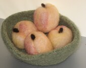 Peaches in bowl, felted