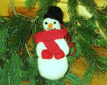 Snowman Christmas ornament needlefelted