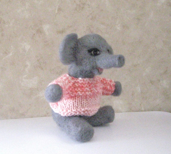 Needle felted elephant with handknit sweater