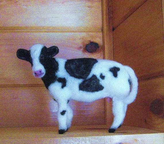 Cow needle felted handmade