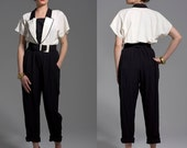 80s Black and White Pant Suit