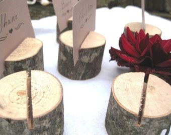 105 round natural wood place card holders - From a Fallen Tree