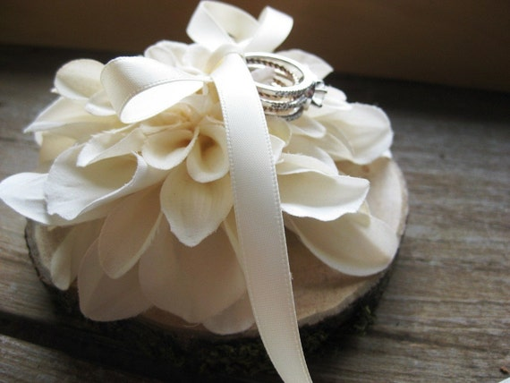 Rustic Wedding Ring Pillow- Natural Wood With Ivory Flower