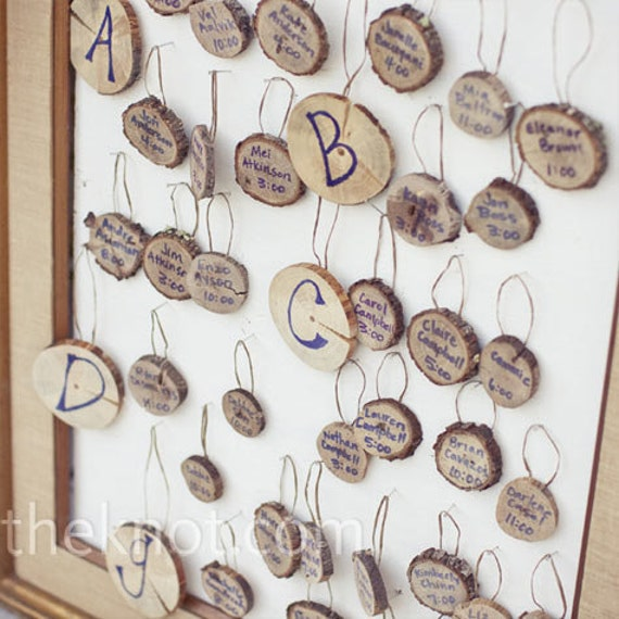 Wedding Tree Slice Escort Cards - includes 26 Letters and 80 little escort slices