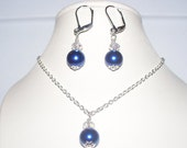 Navy blue pearl necklace set in silver - dangle earrings - bridesmaid jewelry - swarovski crystals