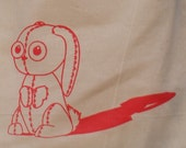 Limited Edition Screenprinted ZOMBUNNY Dark Pink Zombie Bunny Rabbit Eco Cotton Shopper Tote Bag