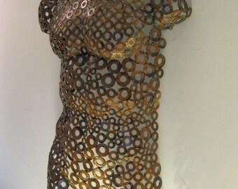 Copper rust Metal Wall art metal torso home decor sculpture Nude by Holly Lentz