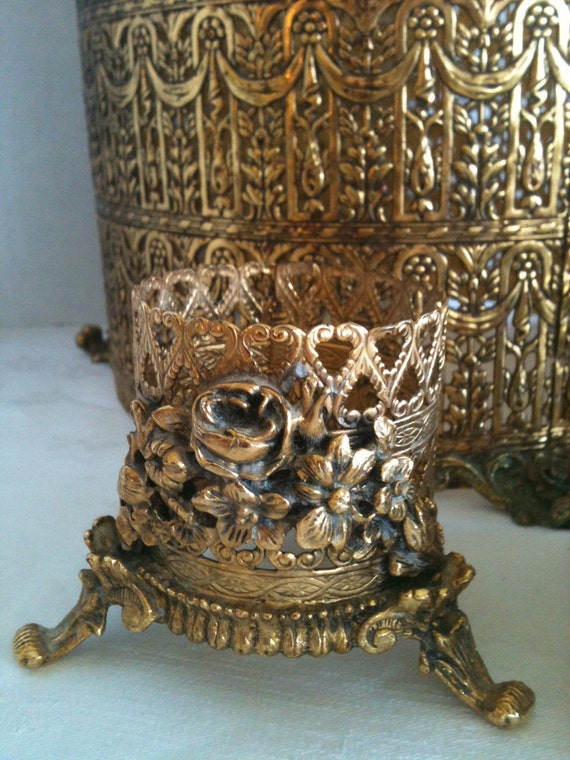 Vintage Gold Filigree Vanity Waste Basket Cover and Cup/Glass Holder Hollywood Glamour