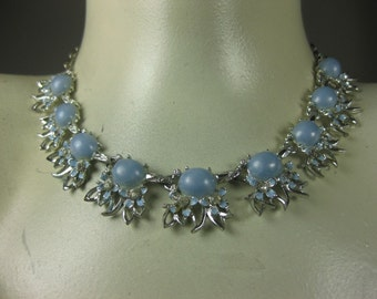 1960's Necklace Mad Men Baby Blue Party/Prom