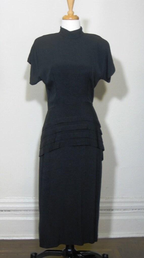 Vintage Black Crepe Dress Film Noir